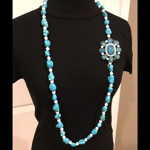 Torqouise Tone Sweater Necklace